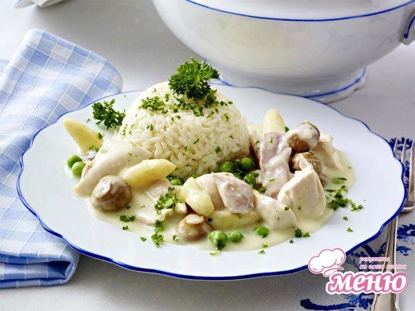 Куриное фрикасе рецепт в сливочном соусе пошагово